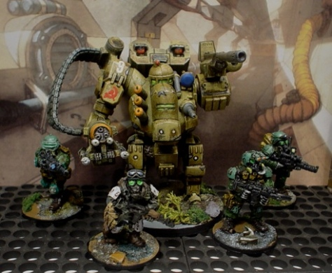 Lead Adventure soldiers with old VOR Ursa Battlesuit