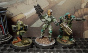 Android from Reaper, Cog fig and DP9 drone used in 28mm gaming.