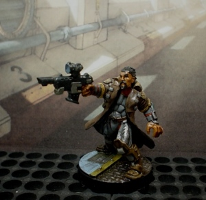 Metal character fig from Sedition Wars with minor gun mod.