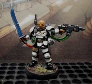 GW Kasrkin Sergeant. Shades of  SW Stormtrooper. LEt's hope he can shoot better.