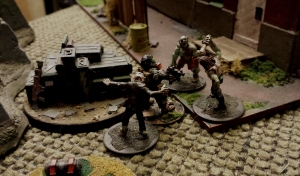 The Lieutenant's last stand. Mobbed by Rad zombies.