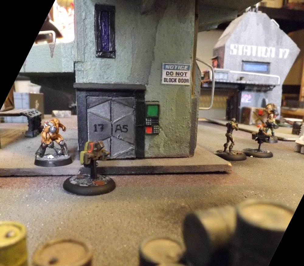 Krieg rushes the door. Android /Drone team advance on right.