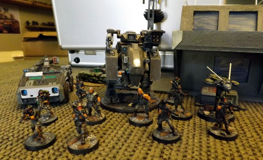 Team shot with Polecat light attack vehicle, infantry, heavy walker and recon drone.