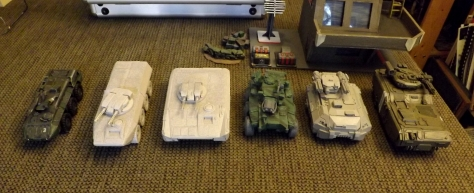 L-> R: Antenociti IFV, Old Crow Claymore, Old Crow Lancer, Secret Weapon 6 x 6, Puppet Wars Taurus, Pig Iron IFV