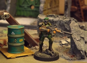 Excellent new sculpt from Corvus Belli. Altho that clip is too long for a sniper rifle.