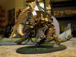 Fast and dirty Carnifex. Tyranids are one of the few GW ranges I like. Versatile figs, they make great generic alien baddies.