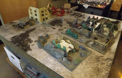 Table set up with three objectives: Vital Data in the old lab; Air Defense Emplacement ; and Xenos Hive.