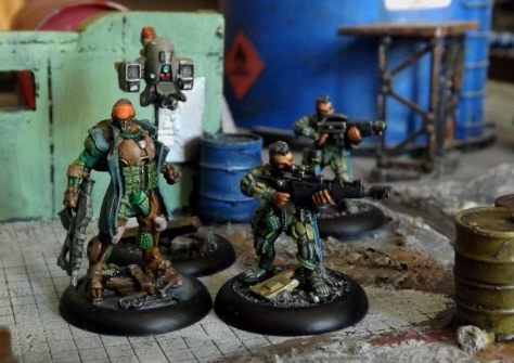 Infinity Bounty Hunter with drone support. A pair of old Van Saar gangers provide extra muscle.