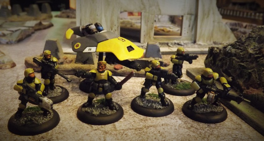 Heresy Troopers modified to resemble MERCS CCC Yellow Jackets